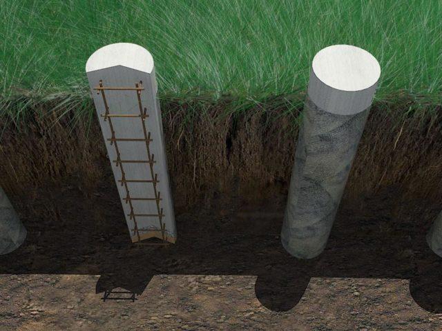 Подземные бетонные столбы для фундамента